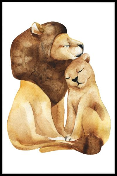 Lion Love Watercolor Poster